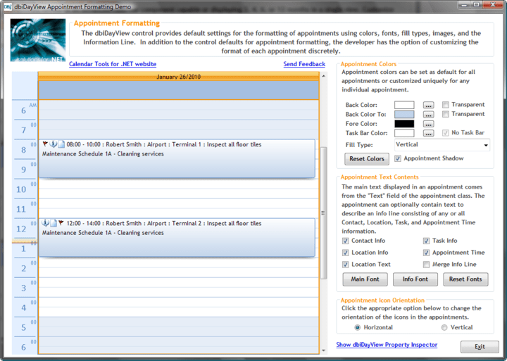 <strong>Appointment Formatting</strong>: dbiDayView provides default settings for the formatting of appointments using colors, fonts, fill types, images and the Information Line.<br /><br />
