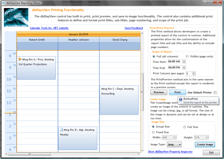 <strong>dbiDayView Printing Functionality</strong>: dbiDayView includes built-in print, print preview and save to image functionality. dbiDayView also contains additional print features to define and format print titles, page numbering and scope of the print job.<br /><br />