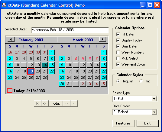<strong>Calendar Tools のスクリーンショット</strong>: A simple month calendar.<br /><br />