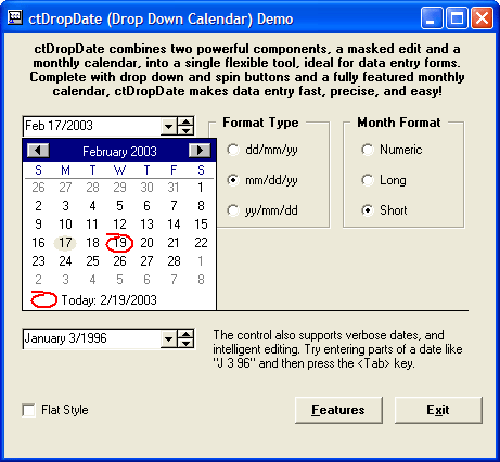<strong>Calendar Tools のスクリーンショット</strong>: A drop down date combo box capable of editing dates.<br /><br />