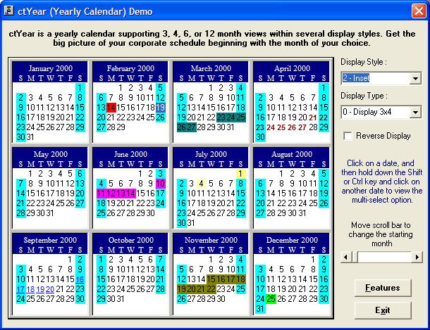 <strong>Calendar Tools のスクリーンショット</strong>: A calendar capable of displaying a years worth of dates.<br /><br />