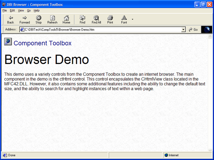 <strong>Web Browser</strong>: The ctHtml control is a window in which the user can browse sites on the World Wide Web, as well as folders in the local file system and on a network.<br /><br />