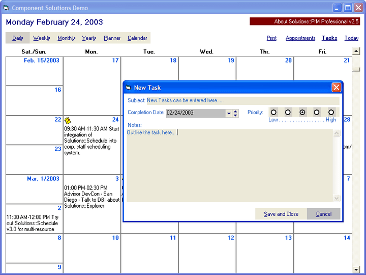 <strong>Scheduling</strong>: Create scheduling applications with the ability to add tasks, appointments and set reminders.<br /><br />
