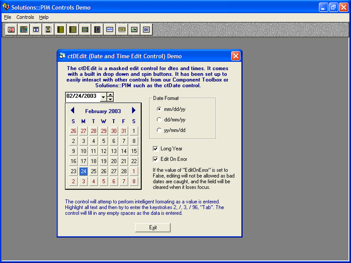 <strong>Drop date</strong>: ctDropDate is a date edit control with a drop calendar.<br /><br />