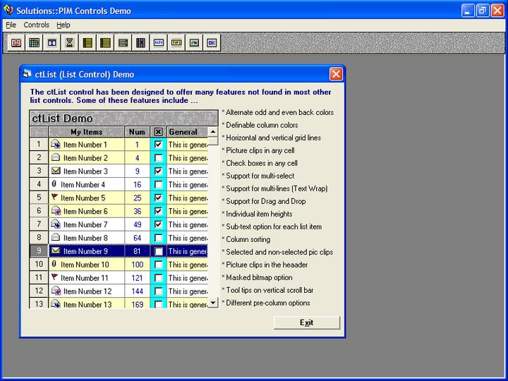 <strong>List box</strong>: ctList is an enhanced list box control.<br /><br />