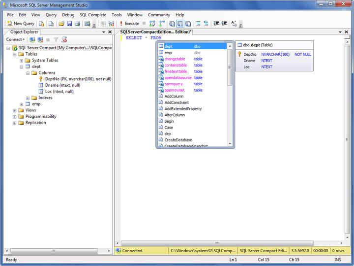 <strong>SQL Server Compact</strong>: dbForge SQL Complete provides full support of SQL Server Compact.<br /><br />
