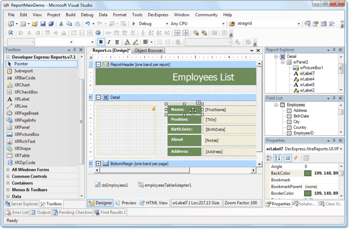 <strong>Complete Integration into Microsoft Visual Studio</strong>: The XtraReports Suite fully integrates into Microsoft Visual Studio so that you design reports in the same manner as you design Windows Forms. The same toolbars, Toolbox and Properties window are used when designing a report. And like Windows Forms, reports are lightweight classes that have a common ancestor. So, you can design reports in code view, and you can also create reports from scratch programmatically.<br /><br />
