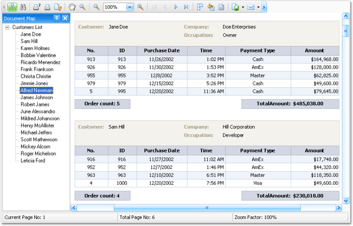<strong>Banded Reports</strong>: XtraReports Suite allows you to create banded reports of any complexity. Using specially designed bands and controls you can group, sort and filter report data, and display summary values. You can also provide a Document Map for quick access to the desired report sections.<br /><br />