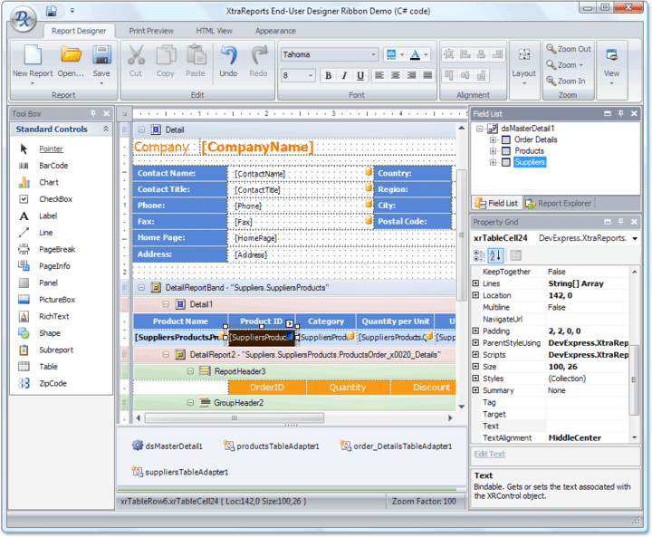 <strong>End-User Report Designer</strong>: You don't need to change reports and re-build your applications each time end-users need to slightly modify a report. They can make any changes on their side using the specially designed End-User Report Designer dialog. In fact, they can also use this dialog to create reports from scratch.<br /><br />