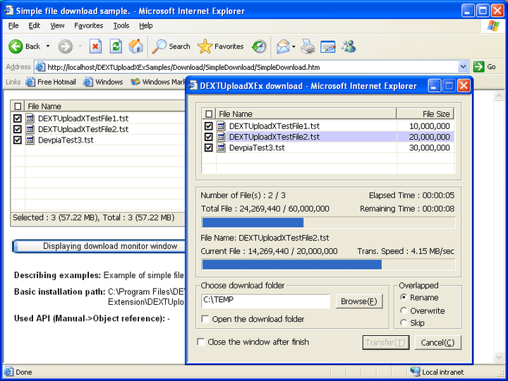 <strong>Screenshot of DEXTUpload Pro Extension</strong><br /><br />