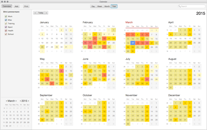 <strong>CalendarFX Year Pages</strong>: Shows twelve YearMonthView controls.