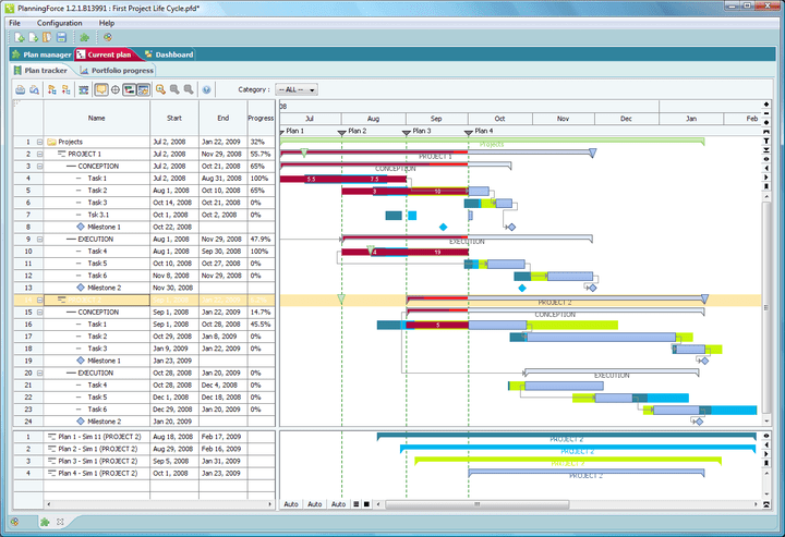"FlexGantt can display large project plans with detailed information on each task: Tasks can be composed to summary tasks. Support for expressing relationships between tasks is also built into FlexGantt. The ""split view"" feature makes comparing different regions of the same plan or two different plans easy."