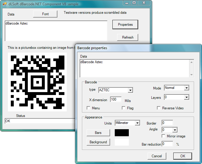 <strong>dBarcode.NET</strong>: Allow barcode images to be created within the user's own .NET application. A barcode image may be displayed on screen or printed on a printer, and the image may be passed to any other image-handling component.