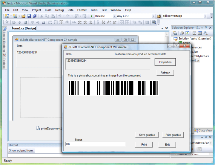 <strong>Properties</strong>: The dBarcode.NET Components may be operated entirely by setting or retrieving Property values programmatically. <br /><br />