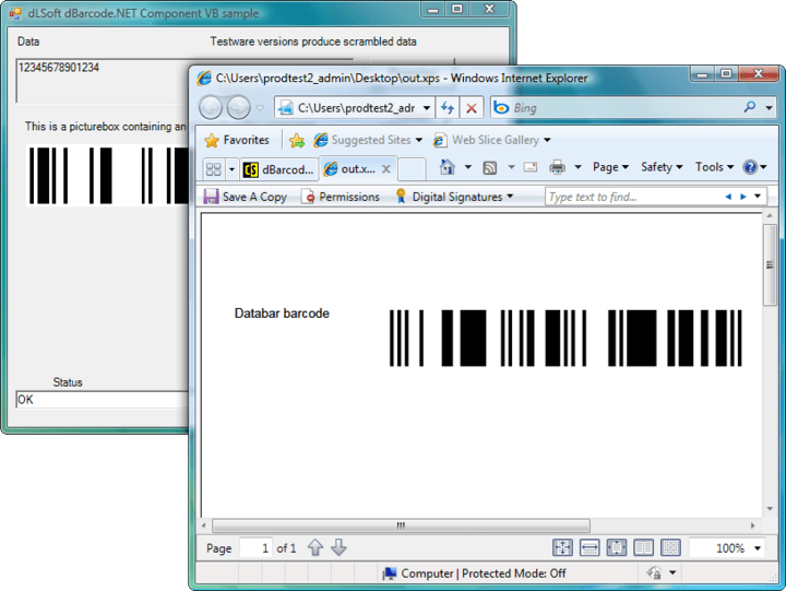 <strong>Printing </strong>: Printing the image returned by the Barcode() call may be accomplished by any of the printing techniques available for Visual Studio.NET project.<br /><br />