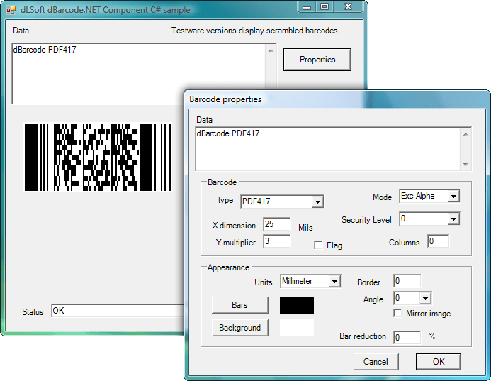 <strong>dBarcode.NET</strong>: Allow barcode images to be created within the user's own .NET application. A barcode image may be displayed on screen or printed on a printer, and the image may be passed to any other image-handling component.<br /><br />