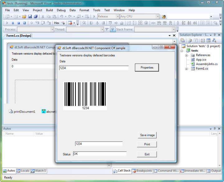 <strong>Screenshot of dBarcode.NET Standard</strong><br /><br />