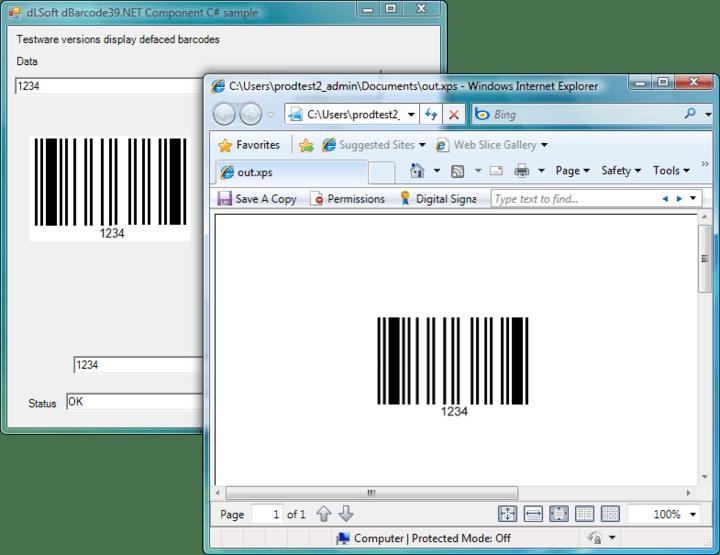 <strong>Screenshot of dBarcode.NET Standard</strong><br /><br />