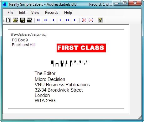 Screenshot of Really Simple Labels: Really Simple Labels is an application for the design and print of 1D barcode labels and tickets from almost any data source.