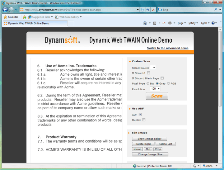 <strong>Screenshot of Dynamic Web TWAIN</strong>: A true web scanning solution specifically optimized for your web applications. It enables you to acquire images from any TWAIN compatible devices (scanners or cameras) and upload the scanned images to web servers.