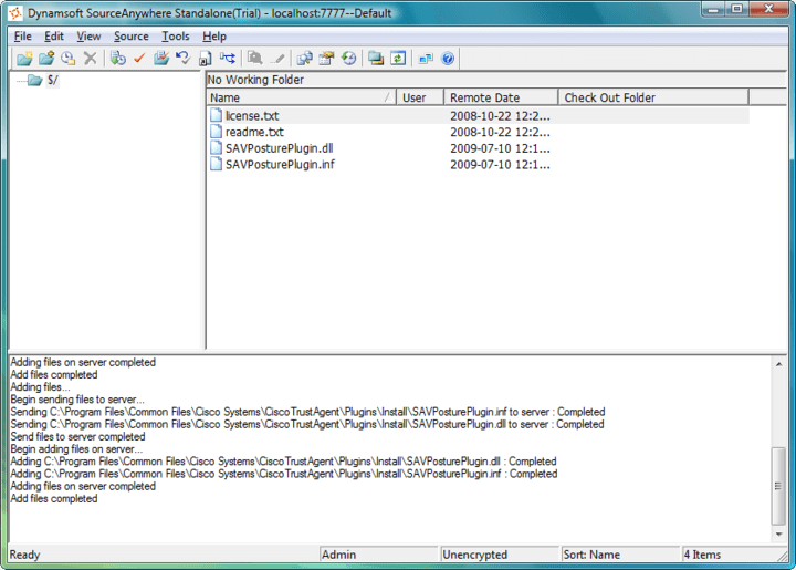 <strong>SourceAnywhere Standalone</strong>: SourceAnywhere Standalone is a SQL-based source control/version control tool designed to be a replacement for Microsoft Visual SourceSafe.<br /><br />