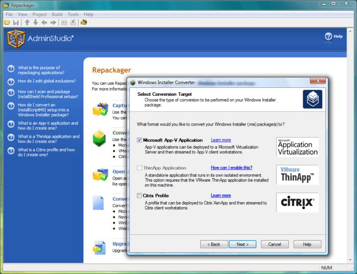 Convert a Windows Installer Package to an Application Virtualization Format