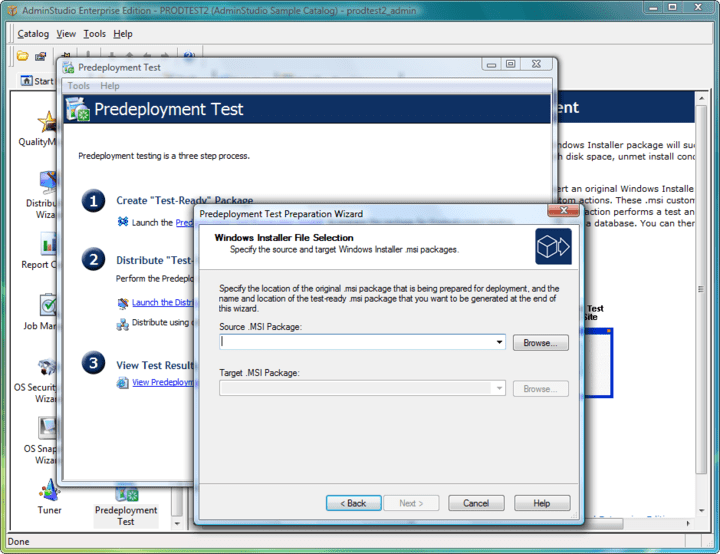 <strong>Predeployment Test tool </strong>: You can use the Predeployment Test tool to determine if a Windows Installer package will succeed or fail when it is installed in production. AdminStudio will find issues with disk space, unmet install conditions, and conflicts with applications already installed on the system.<br /><br />