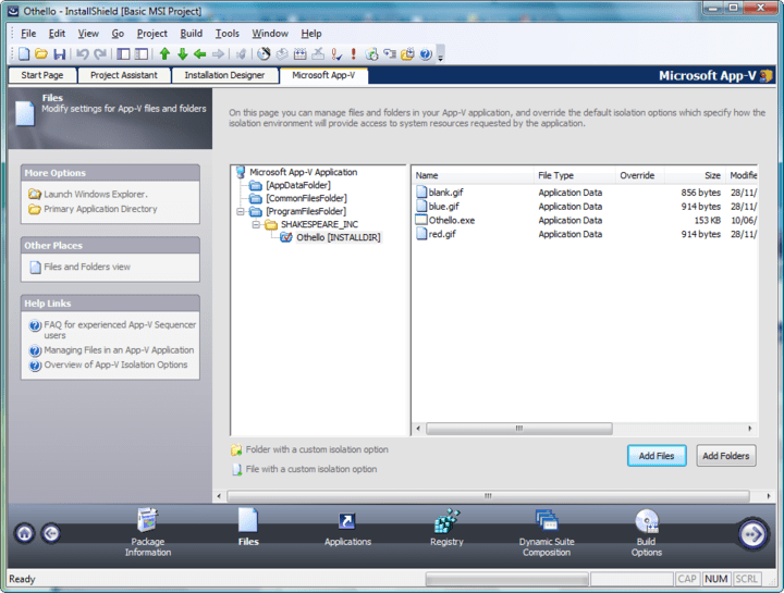 <strong>Screenshot of InstallShield Premier with Virtualization Pack</strong><br /><br />