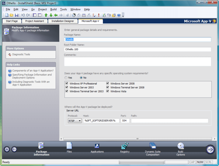 <strong>Specifying Package Information and Deployment Options</strong>: When creating an App-V application, the first step is to specify the package name, root folder name, and enter a comment on the Package Information page. From this page, you can also specify any operating system requirements, identify the deployment server, and choose to include diagnostic tools with the virtual package. <br /><br />
