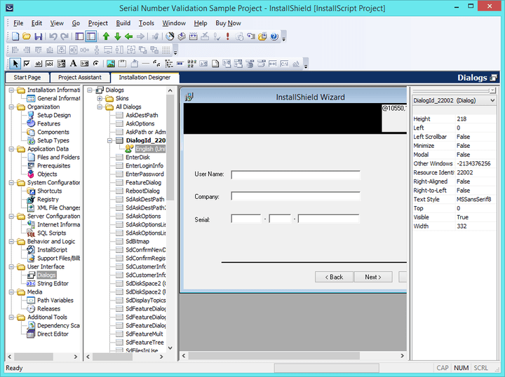 <strong>InstallShield 2014 Professional(英語版) のスクリーンショット</strong>: The Dialog Editor lets you modify the layout of existing end-user dialogs or create new custom dialogs. Import and export dialogs to share them across projects. Construct different dialogs for each language supported in the project.