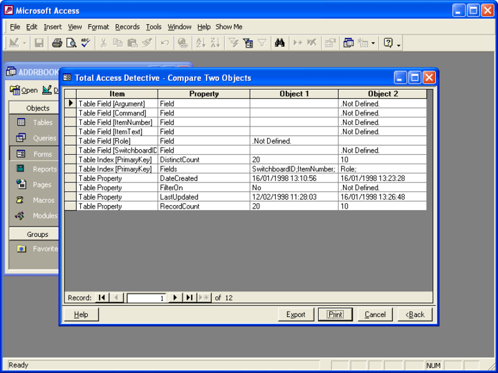 <strong>Total Access Detective</strong>: Total Access Detective is an object comparison wizard for Microsoft Access databases. Use it to determine exactly what is different between two objects in one database or between two databases.<br /><br />