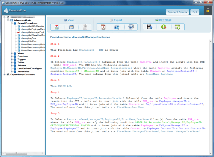 <strong>Screenshot of GenesisOne T-SQL Source Code Unscrambler</strong><br /><br />