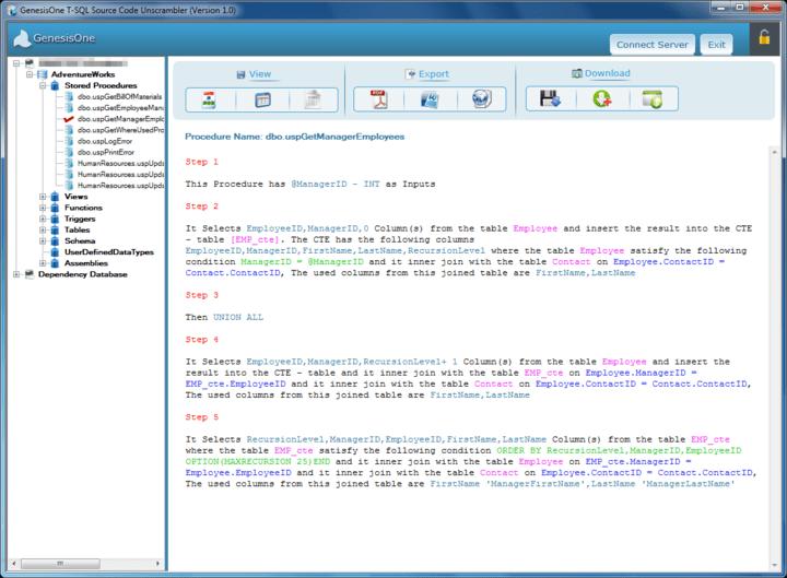 Screenshot of GenesisOne T-SQL Source Code Unscrambler