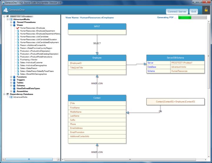 <strong>Screenshot of GenesisOne T-SQL Source Code Unscrambler</strong><br /><br />