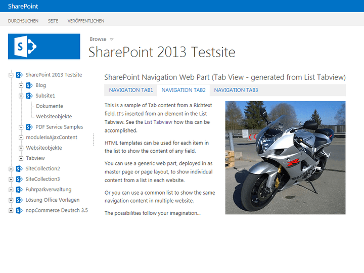 <strong>Navigation Web Part as Tab View</strong>: A SharePoint Navigation Web Part integrated into a page and displayed as a Tab View driven from list data.