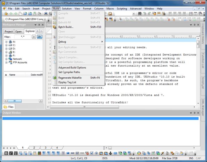 <strong>Screenshot of UEStudio</strong><br /><br />