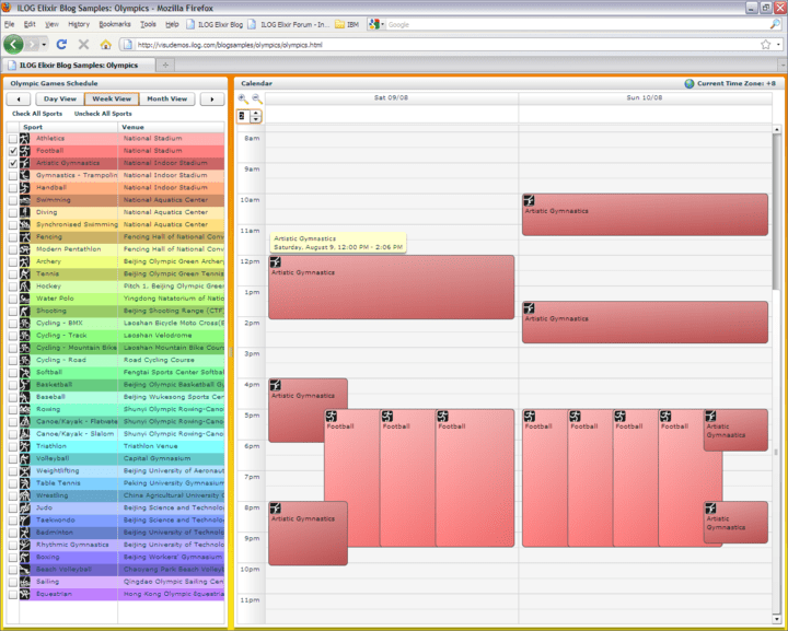 <strong>Calendar</strong>: Easily create custom and shared planning applications with the powerful IBM ILOG Elixir calendar component. Easily display multiple planning at once together with advance recurrence management.<br /><br />