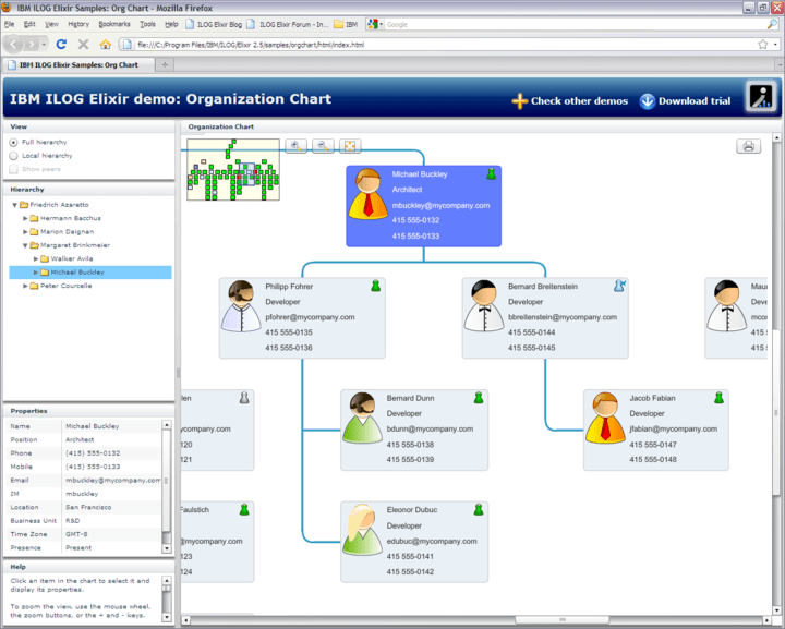 <strong>Organization Charts</strong>: Advanced employee organization charts are easy to create with IBM ILOG Elixir. Quickly navigate through peers and management relationships with stunning animations.<br /><br />