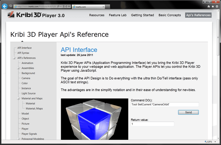 <strong>A rich and intuitive programming interface (API)</strong>: High-level programming interface that facilitates the use of 3D interactive rendering in a wide range of application scenarios, with no particular knowledge in 3D geometry. Direct access to all element properties of the 3D environment. Kribi 3D Player integrates seamlessly with JavaScript codes and Ajax events both client and server side.<br /><br />