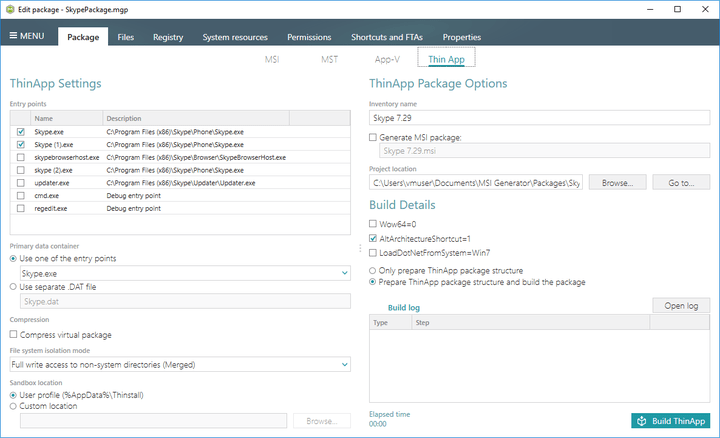 <strong>ThinApp Package Settings</strong>: Select ThinApp package settings according to the business needs and build a package in one click.<br /><br />