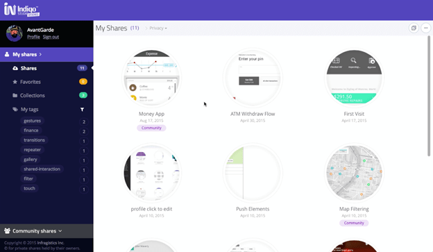 <strong>Share your Indigo Studio Prototypes and UI libraries privately or with the community</strong><br /><br />