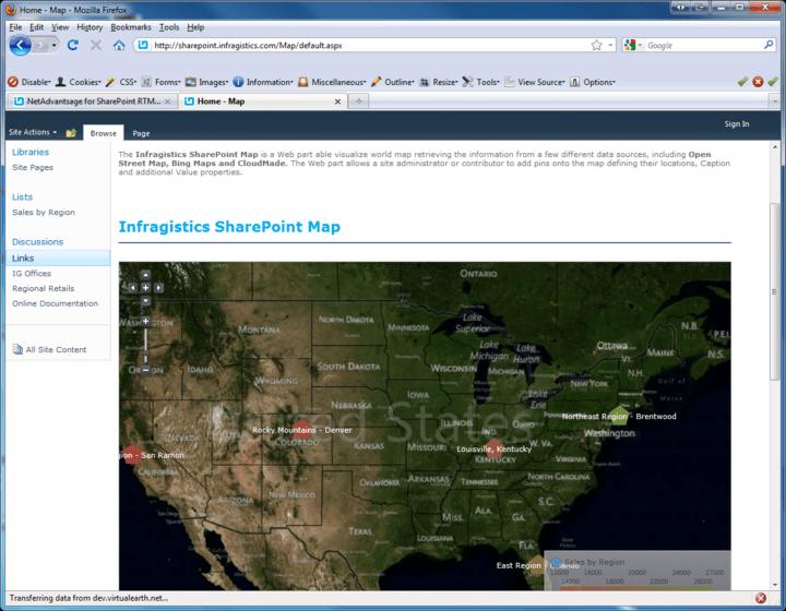 <strong>Screenshot of Infragistics NetAdvantage for SharePoint</strong><br /><br />