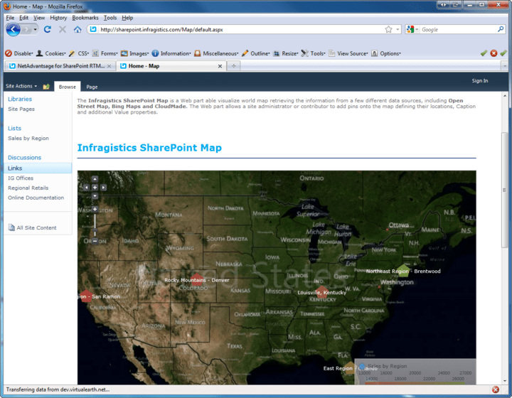 <strong>Screenshot of Infragistics NetAdvantage for SharePoint</strong><br /><br />