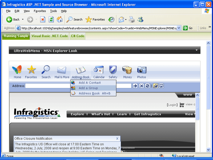 <strong>UltraWebMenu</strong>: UltraWebMenu can have the same look and feel as the MSN Explorer browser.