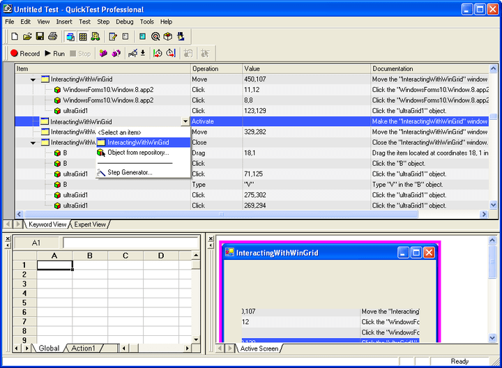 <strong>Screenshot of Infragistics Windows Forms Test Automation for HP</strong><br /><br />