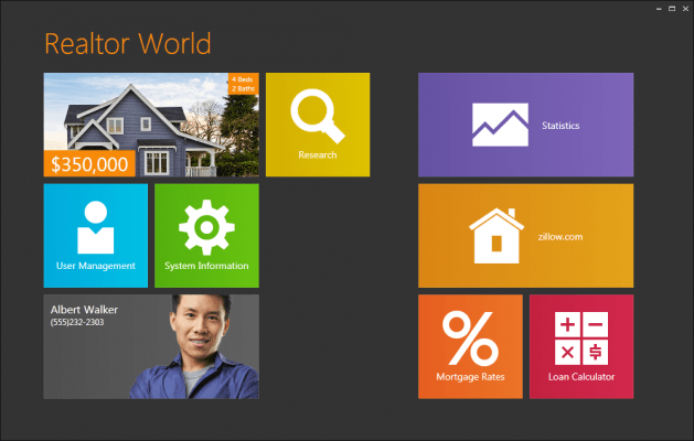 Windows 8 Start screen: Build elegant user interfaces that mimic the capabilities of the Windows 8 Start screen.
