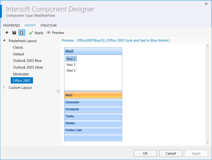 Layouts: The new Intersoft Solutions Component designer that shows Layout available.