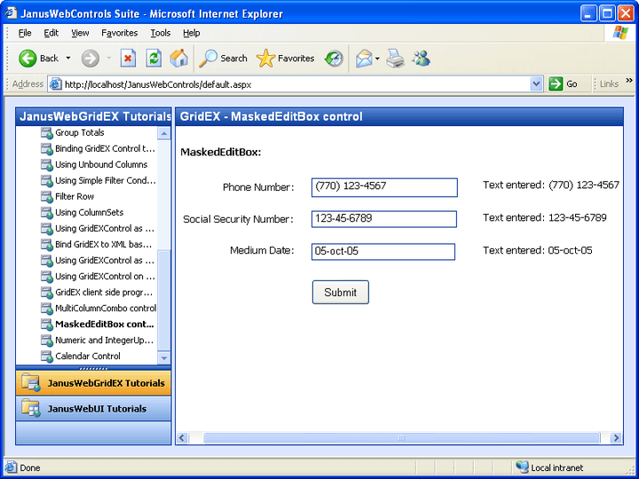 <strong>Janus Web ASP.NET Server Controls Suite(英語版) のスクリーンショット</strong>: Help end users enter the correct data.<br /><br />