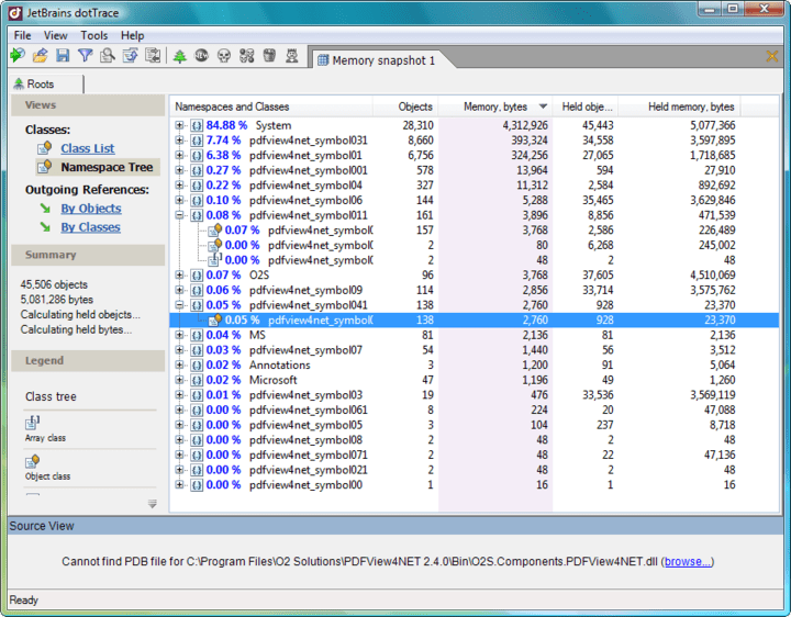 <strong>Memory profiling</strong>: With dotTrace you can quickly profile the memory usage of your .NET applications. The profiling process is not only simple but fast. A wealth of profiling data is accurately recorded and presented in the form of memory snapshots, allowing thorough analysis of memory issues. <br /><br />