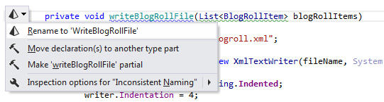 <strong>Inconsistent Method Naming</strong>: ReSharper detects that a method name doesn't respect accepted naming conventions and suggests renaming it to use UpperCamelCase.<br /><br />